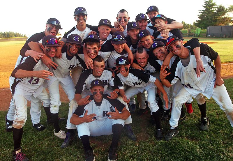 by: DAN BROOD - POSTGAME FUN -- The Horizon Christian High School baseball team gets together following its 12-5 win over Pleasant Hill in a Class 3A state playoff quarterfinal game on Friday. The Hawks were edged 10-9 at Cascade Christian on Tuesday.
