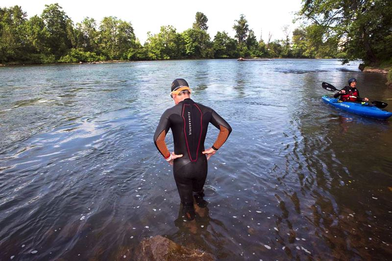 by: CONTRIBUTED PHOTO: STEPHEN CRIDLAND - Hall swam out of Eugene on June 2. Today he is on week two, day eight of his journey down river.