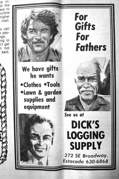 by: ARCHIVE PHOTO - A 1984 Dick's Logging Supply ad.