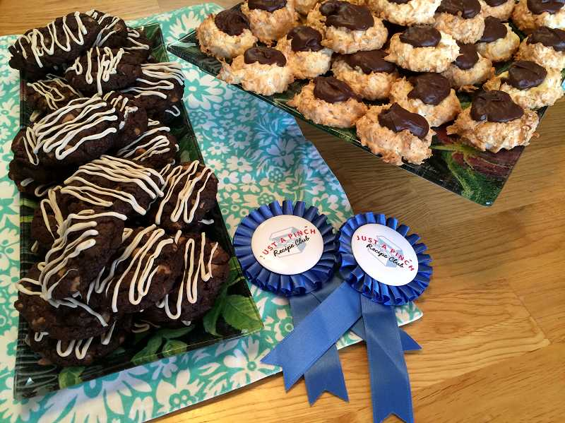 by: TIMES PHOTO: CAITLIN FELDMAN - Susan Bartley won blue ribbons for both her chocolate cappuccino bacon cookies and ganache-filled coconut macaroons. She can often be found handing out her goodies at Hopes Table on Monday nights.