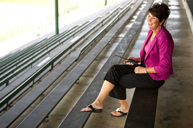 by: TIMES PHOTO: JAIME VALDEZ - Barb Proctor, Tigards associate principal, said her favorite spot at the school is in the stadium, where she can enjoy a beautiful view of Mt. Hood and the schools campus