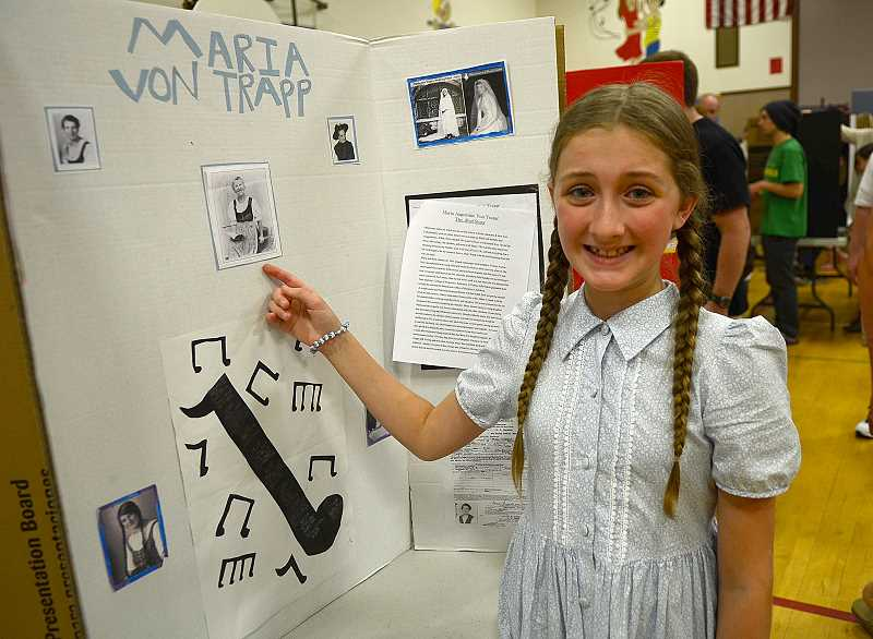 by: REVIEW PHOTO: VERN UYETAKE - Mika Konicke delivers a presentation on the life of Maria Von Trapp.