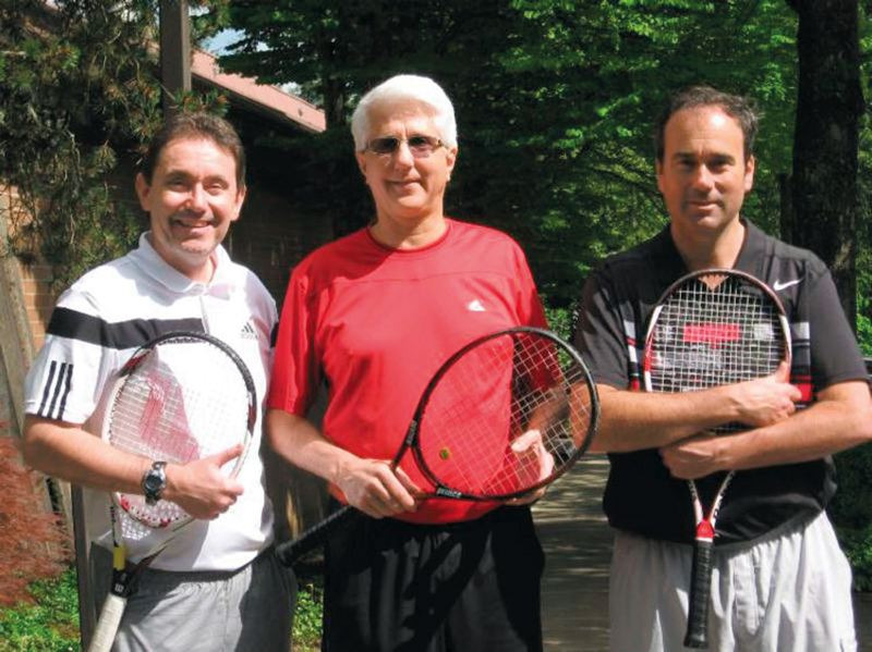 by: COURTESY OF MOUNTAIN PARK RACQUET CLUB - Tennis pros (from left) Mike Pazourek, Roger McKee and Mike Kanapeaux have stayed together for 25 years at Mountain Park Racquet Club.
