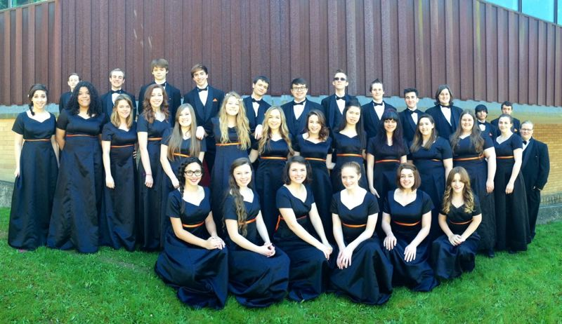 by: PHOTO COURTESY OF KRISTEN CALDWELL - The Scappoose High School Chamber Choir placed 11th in its division at the State Choir Championships in May at George Fox University.