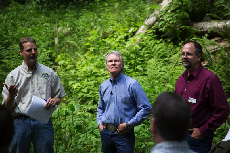 by: COURTESY PHOTO: OREGON DEPARTMENT OF FORESTRY - Oregon Gov. John Kitzhaber (center) was joined by Washington County Commission Chairman Andy Duyck (right) and State Forester Doug Decker for a visit to the Tillamook State Forest last week.