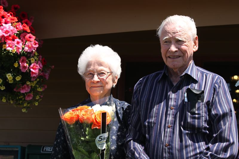 by: COURTESY PHOTO: VICKI FOTHERINGHAM - Beatrice Bangs of Warrenton and Everett Lee of Forest Grove stand in front of Elmers restaurant in Hillsboro, where Lee hosted Bangs for her 90th birthday brunch last Saturday.