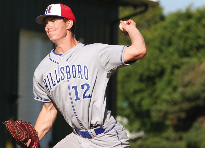 by: HILLSBORO TRIBUNE PHOTO: AMANDA MILES - Hillsboro pitcher Chase Kaplan was an all-conference and all-state selection after throwing two no-hitters this year and striking out 17 batters in one game. The senior signed a letter of intent with Western Nevada College.