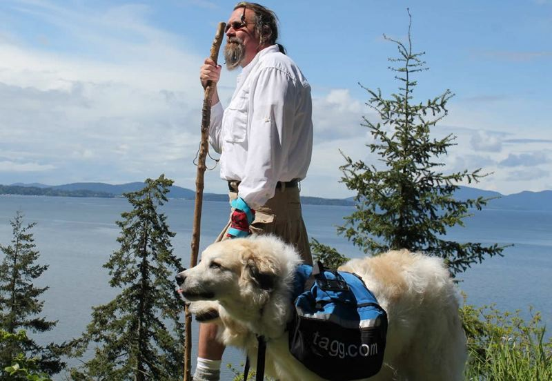 by: SUBMITTED PHOTO - Luke Robinson and his Great Pyrenees, Hudson and Indiana, will be walking from downtown Vancouver over the bridge into Oregon.