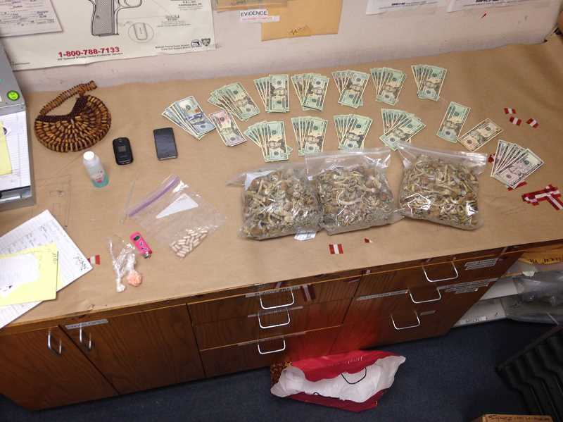 by: SUBMITTED PHOTO: WEST LINN POLICE - Police seized more than 1.5 pounds of psychedelic mushrooms, 67 capsules of MDMA and more than $1,600 in suspected drug money Tuesday morning.