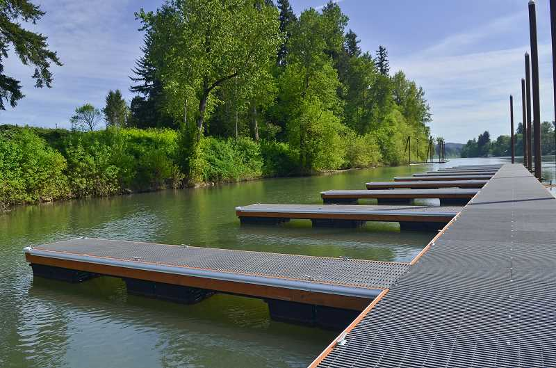 The dock is made of special material that allows for 70 percent light penetration, which helps protect salmon and steelhead from predator fish.
