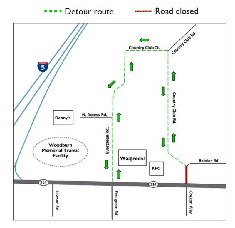by: ODOT - This map shows the detour route around the closed portion of Country Club Road June 23-26.