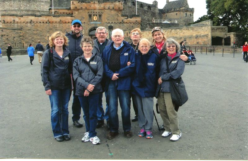 by: CONTRIBUTED PHOTO: BERNADETTE HATHAWAY - Boring residents who visited Dull, Scotland in October 2013 were, from left, Stephenie Bates Gross, Nathan Gross, Betty Bates, Steve Bates, Stewart Hathaway, Bea Minnear, Bernadette Hathaway, Gayle Roth Cutaia and Shirley Roth.