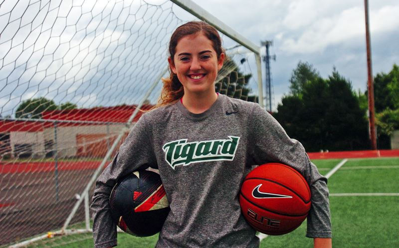 by: DAN BROOD - TERRIFIC TIGER -- Emilee Cincotta came up big for the Tigard girls soccer and basketball teams.
