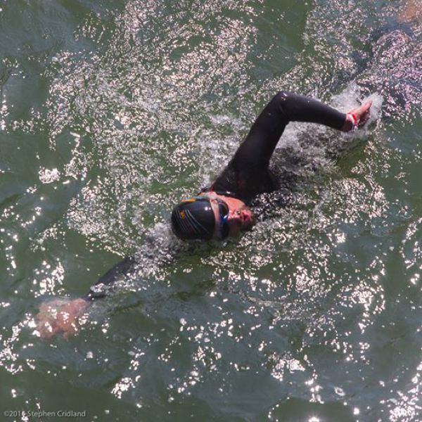 by: CONTRIBUTED PHOTO: STEPHEN CRIDLAND - Diagnosed with leukemia and lymphoma, Dean Hall has been swimming 6 to 14 miles a day for three weeks now. He plans to reach his goal at the confluence of the Columbia River early next week.