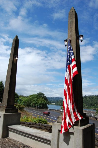 by: PHOTO BY: ROXANDRA PENNINGTON - Shown is the new Conde McCullough Obelisk Bench Viewpoint overlooking Willamette Falls.
