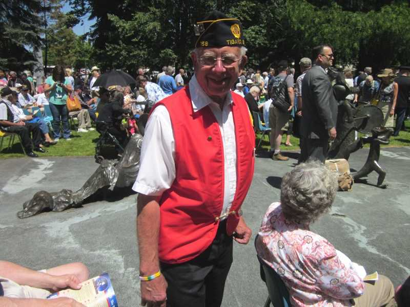 by: BARBARA SHERMAN - PROUD PATRIOT  - Hank Hess of Summerfield, who served in the Air Force and Army reserves and is a member of Tigard American Legion Post 158, attended the dedication of Oregon's WWII Memorial in Salem.