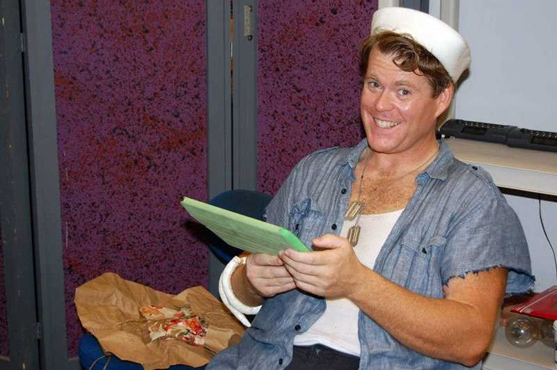 by: COURTESY PHOTO - Hillsboro resident Brandon Weaver prepped backstage as Luther Billis in Theatre in the Groves South Pacific in 2012.