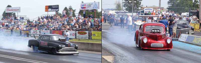 by: PHOTO COURTESY OF THE WOODBURN DRAGSTRIP - Mitch Chamberlain and Troy Owens went head to head in the finals of the AA/Supercharged division of the 28th Annual Napa Auto Parts Oldies But Goodies race at the Woodburn Dragstrip on Sunday.