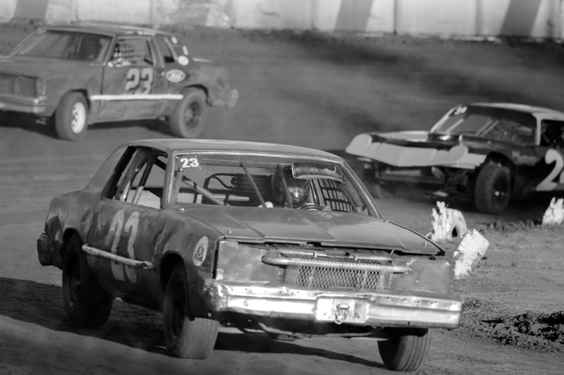 by: NEWS-TIMES PHOTO: CHASE ALLGOOD - Banks resident Bob McGrotty, 85, leads the pack in a special race at Sunset Speedway for his family members.