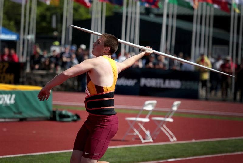 by: TRIBUNE PHOTO: JONATHAN HOUSE - Central Catholic High senior John Nizich wins the Class 6A javelin title at the state meet in Eugene, and hell return there to compete for the Oregon Ducks.