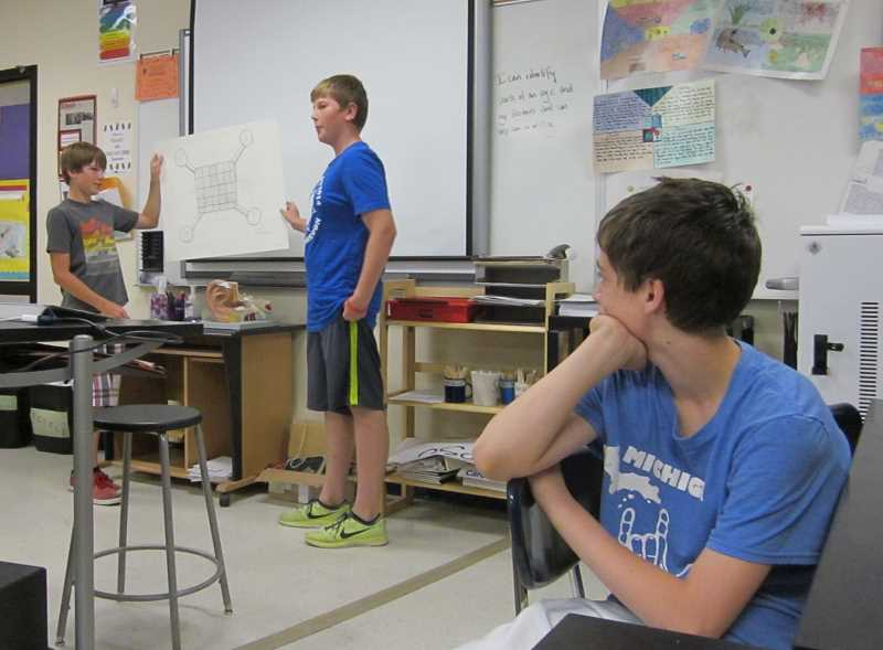 by: GAZETTE PHOTO BY BARBARA SHERMAN - Sherwood Middle School students Sam Findtner (left) and Same Ettelstein hold up a drawing of their solar-powered Taiyo Drone that was a big hit with the 'sharks' in a version of Shark Tank' in their science class.