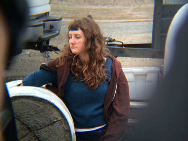 by: KOIN NEWS 6 - This unidentified woman was arrested protesting oil trains in Portland Monday morning.