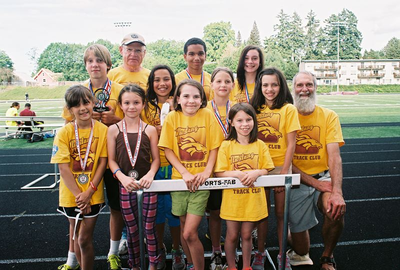 by: JOHN DENNY - Mustang Track Club athletes have had a lot to be proud of this spring. Theyve not only improved their performances in leaps and bounds, but many of them proved themselves among the best in the state for their age divisions at the recent State Junior Olympic Track and Field Championships. Pictured are Mustang Track Club members: (front, from left) Annelise Cronk, Brianna Stepper, Hope Alles and Sara Barbour; (second row) Arthur Katahdin, Natasha Rodriguez, Sonia Katahdin, Corinna Djeyfroudi and assistant coach Don Katahdin; and (back) head coach Fred Crowe, Malik Benson and Shyla Theel.