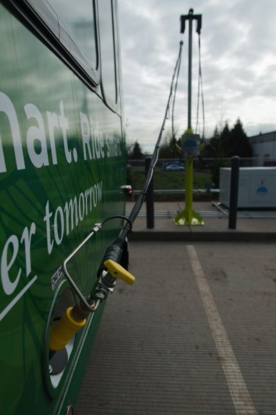 by: SPOKESMAN FILE PHOTO: JOSH KULLA - A SMART CNG-fueled bus takes on its fuel at SMART headquarters on Boberg Road.