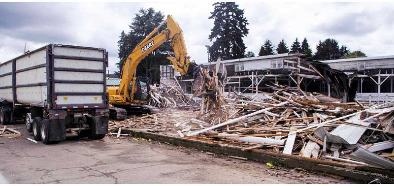 by: RAY HUGHEY - Demolition of the livestock building at the Clackamas County fairgrounds began Thursday and is scheduled to be completed by July 15.