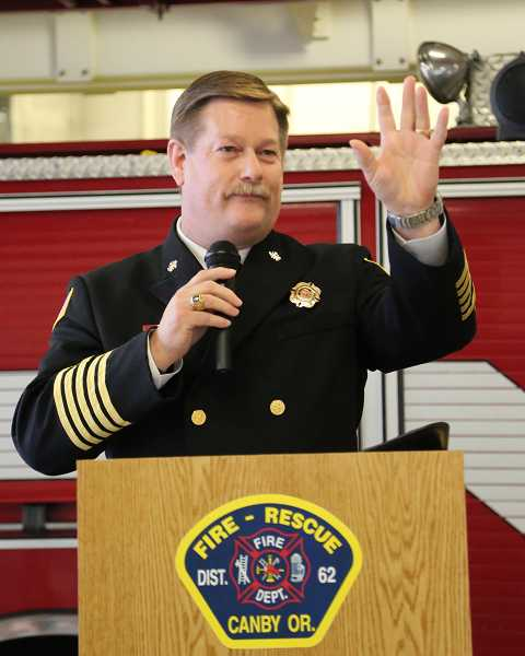 by: MALLORY GWYNN - Canby Fire District 62 honored retiring chief Ted Kunze  and welcomed successor James Davis last week in an end of watch ceremony.