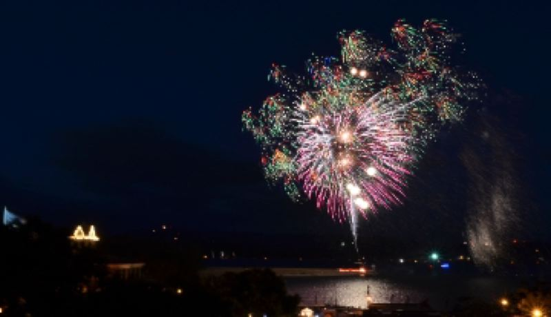 by: COURTESY OF THE CITY OF ST. HELENS - A fireworks display as seen from Old Town St. Helens.