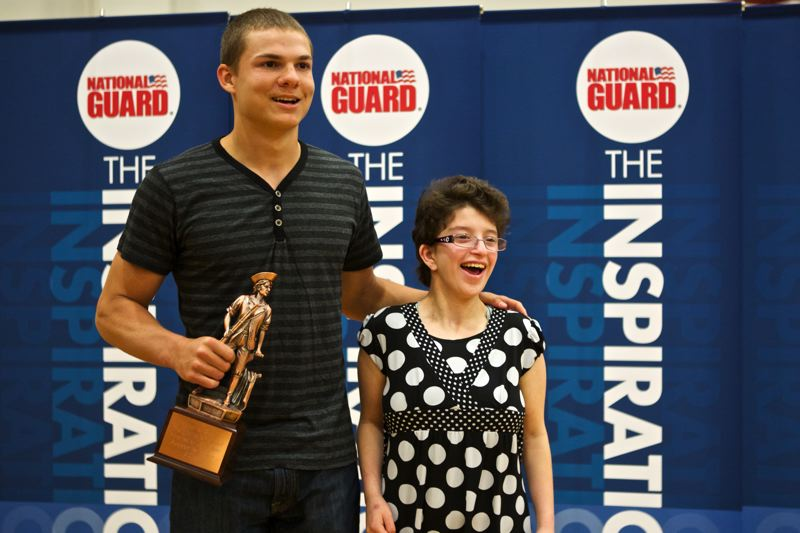 by: JAIME VALDEZ - INSPIRATIONAL -- Keegan Lawrence poses with his friend, Angel Consani, after being presented the USA TODAY High School Sports and The National Guard Inspiration Award.