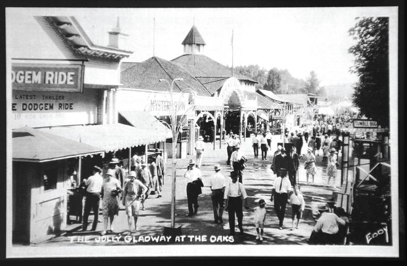 by: COURTESY OF OAKS AMUSEMENT PARK - In the early days, visitors would dress up to come to events at the park. Today's midway was originally known as the Jolly Gladway.