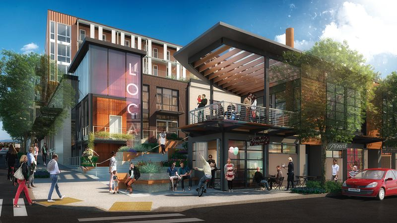 by: TRIBUNE PHOTO: JOSEPH GALLIVAN - An artists rendering, by Ankrom Moisan Architects, of the LOCA development being proposed for the Southeast Portland goat blocks.
