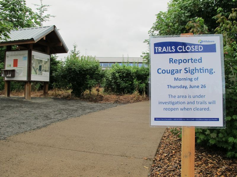 by: HILLSBORO TRIBUNE PHOTO: KATHY FULLER - A sign June 27 at the entrance to Jackson Bottom Wetlands Preserve warned of closed trails due to a cougar sighting in the area. The closure signs have since been replaced by warning signs and trails have reopened.
