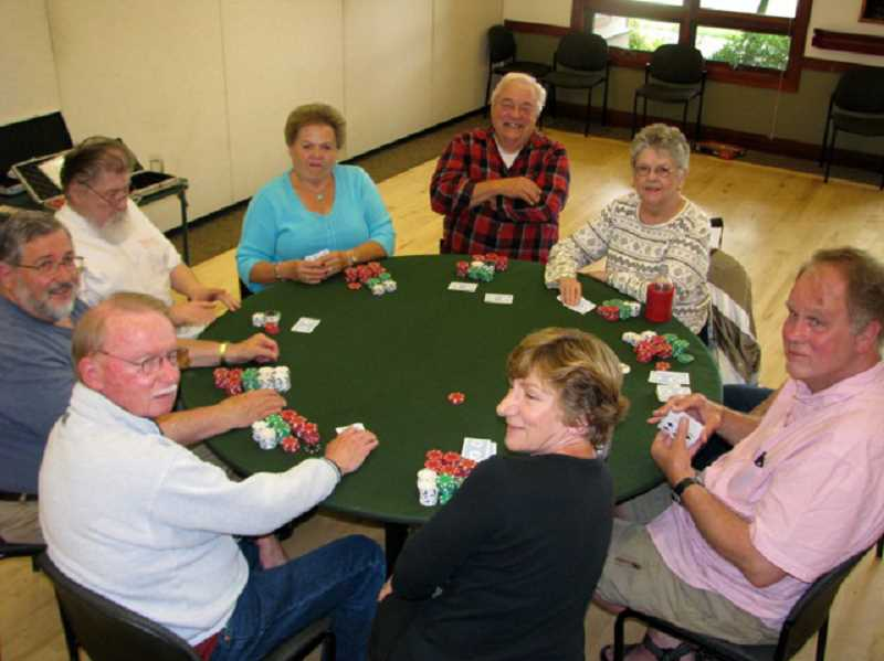 by: SUBMITTED PHOTO - The regulars of the Texas Holdem poker group meet every Friday afternoon at the West Linn Adult Community Center.
