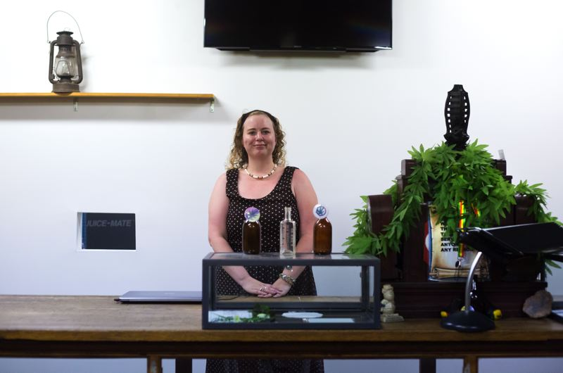 by: PAMPLIN MEDIA GROUP PHOTO: JONATHAN HOUSE - Lindsey Reinhart, in her closed dispensary, is the chief petitioner for a ballot initiative to repeal Clackamas Countys moratorium on medical marijuana dispensaries.