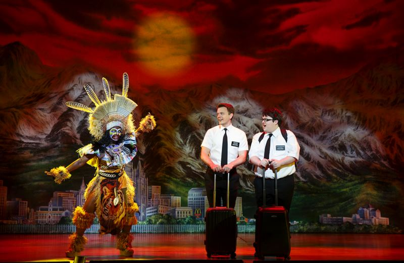 by: PHOTO COURTESY OF JOAN MARCUS - David Larsen (left), a Portland native who attended Hillsboro High, plays Elder Price in The Book of Mormon, which plays at Keller Auditorium, July 8 to 20.