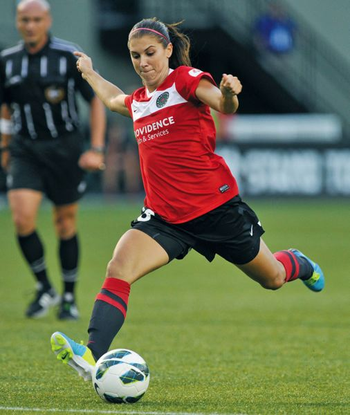by: COURTESY OF JOHN LARIVIERE - Forward Alex Morgan, coming off an injury, is looking for her first NWSL point of 2014. Shes played in only four games this year for the Portland Thorns.
