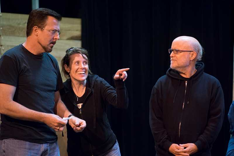 by: COURTESY PHOTOS - A cast of about 30 make Crazy Old Man by local playwrights come to life for the frist time.