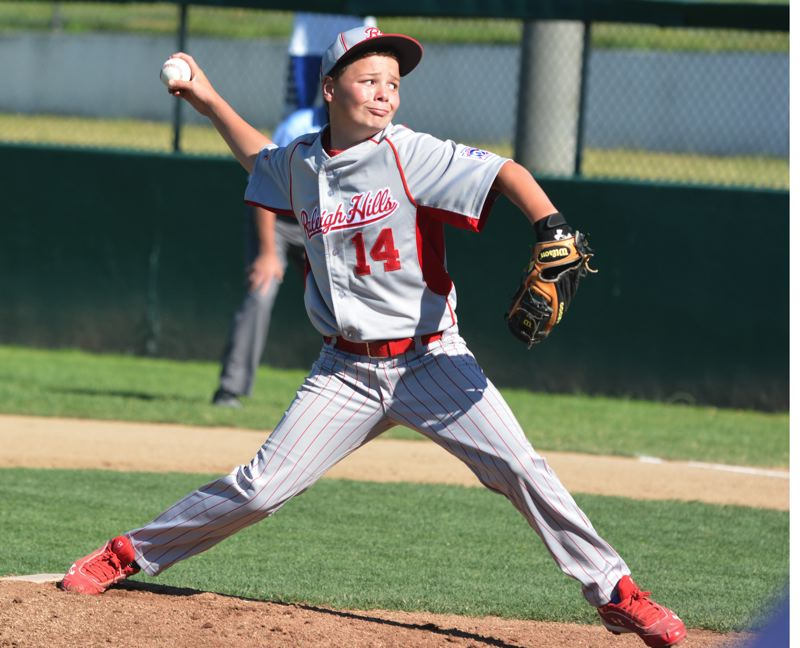 by: TIMES PHOTO: MATT SINGLEDECKER - Raleigh Hills Little League All-Star pitcher Josh Daul struck out 10 batters in more than five innings of work for the 11 and 12-year old squad versus Lake Oswego.