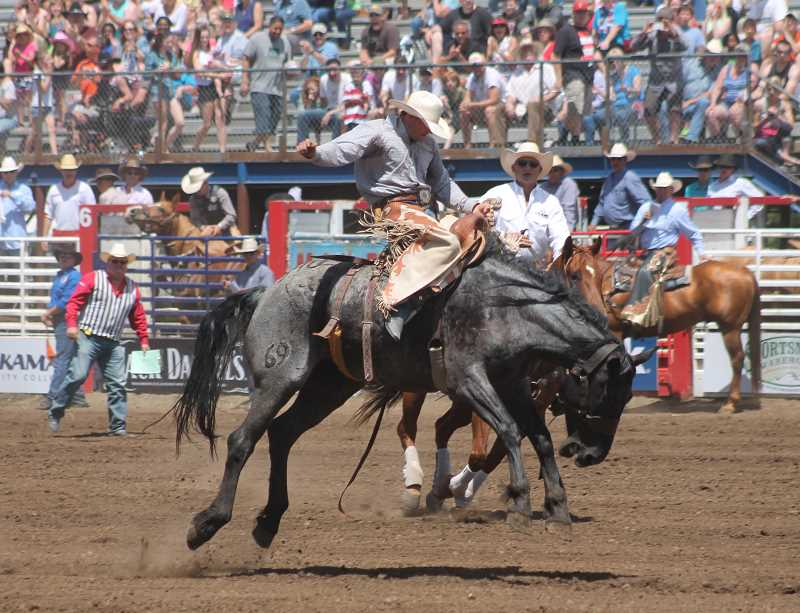 by: JIM BESEDA/MOLALLA PIONEER - Levi Berry of Morgan, Utah, went for a 71-point ride on Flying 5 Rodeo's No. 340 during Friday afternoon 91st Molalla Buckeroo PRCA Rodeo.