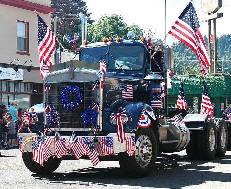 by:  ISABEL GAUTSCHI - This elaborately decorated truck was part of the Chamber of Commerces parde through downtown Estacada.