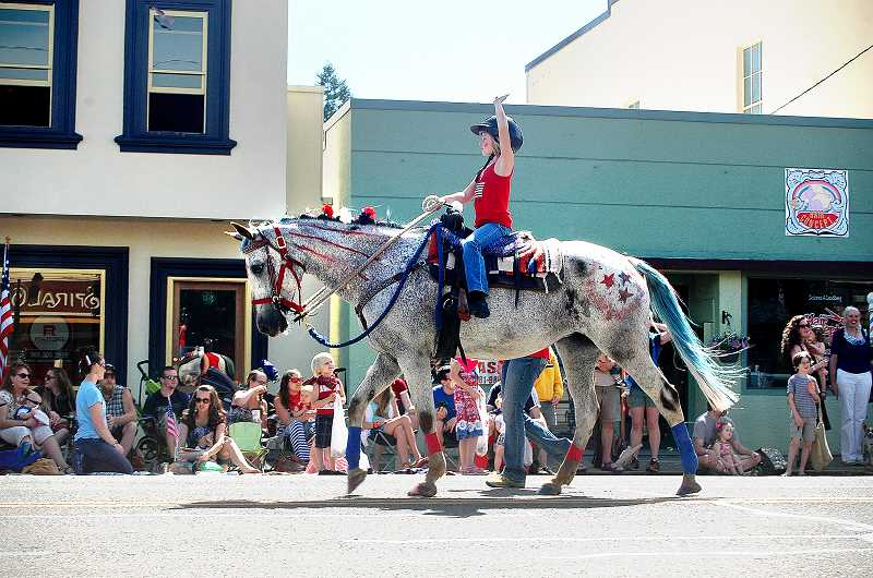 by: ISABEL GAUTSCHI - Check out this patriotic pony in the Chamber of Commerce's Fourth of July Parade through downtown Estacada.