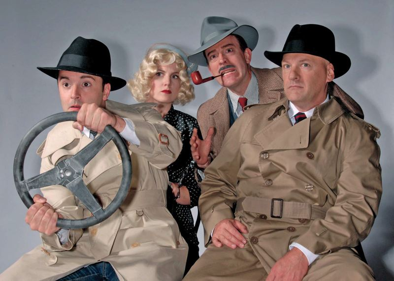 by: COURTESY OF TRIUMPH PHOTOGRAPHY - (Left to right) Alex Fox, Olivia Shimkus, Leif Norby and Todd Hermanson perform in The 39 Steps at Lakewood Theatre Company, July 11-Aug 17.