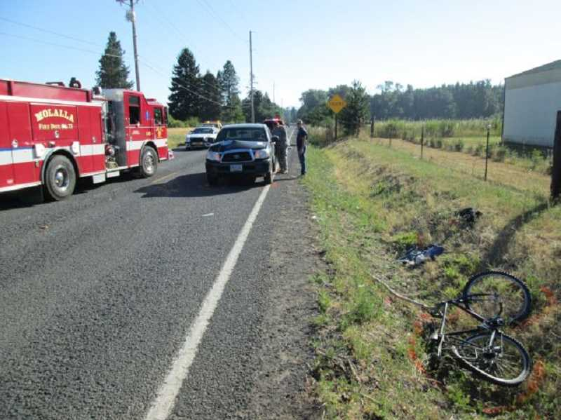 by: OREGON STATE POLICE - A Molalla man was taken by Life Flight to OHSU trauma center after being struck by a pickup truck near Molalla Thursday morning.