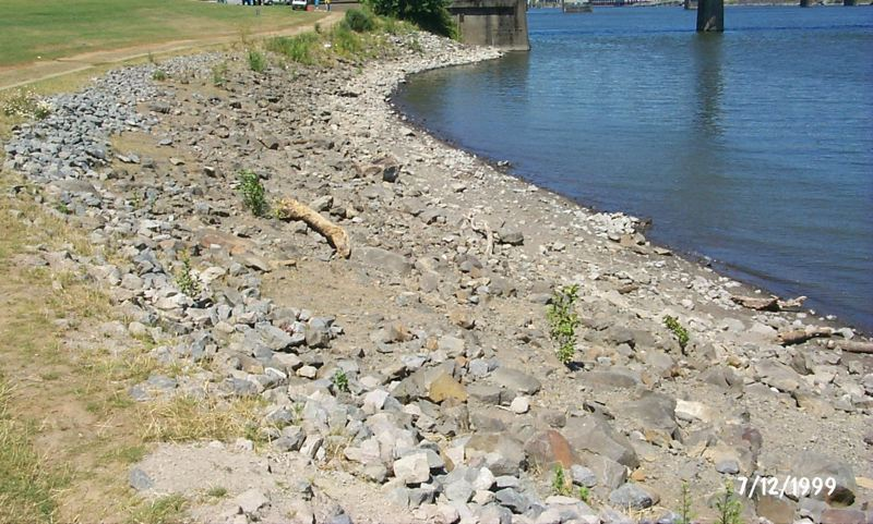 by: COURTESY OF HUMAN ACCESS PROJECT - Rocks littering the beach in 1999 made the public area at the Hawthorne Bowl less inviting for wading or lying in the sun.