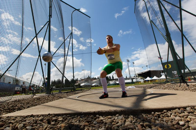 by: RYAN KANG/EMERALD MEDIA GROUP - Wiith at least two years of athletic eligibility remaining, Greg Skipper has high aspirations as a hammer thrower for the University of Oregon. He says he believes he has a shot at the American collegiate record, held by former Duck and Olympian Ken Flax (1986), before he graduates.