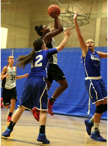 by: JON HOUSE - NDea Flye, pictured on the attack in the sixth-place final of the 2014 End Of The Trail High School All-Star Basketball Tournament, was selected to the tournaments National Division All-Star Team.