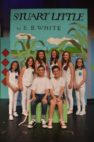 by: PHOTO BY MICHELLE LEIGH - Double cast as Stuart Little are Jarrison Bolan, left, and Clayton Menta. The narrators behind them are: Azalinn Ennis, Jamaica Leland, Carmen Kamhoot, Ava Johnson, Alexis Davis and Kamryn Bolan.